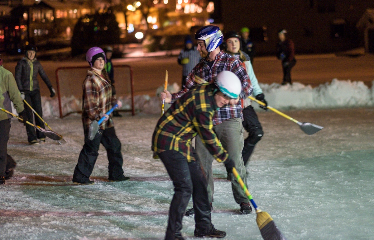 Broomball action at the Mirror Lake Inn